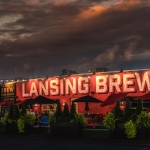 Night time view of the Lansing Brewing Company building