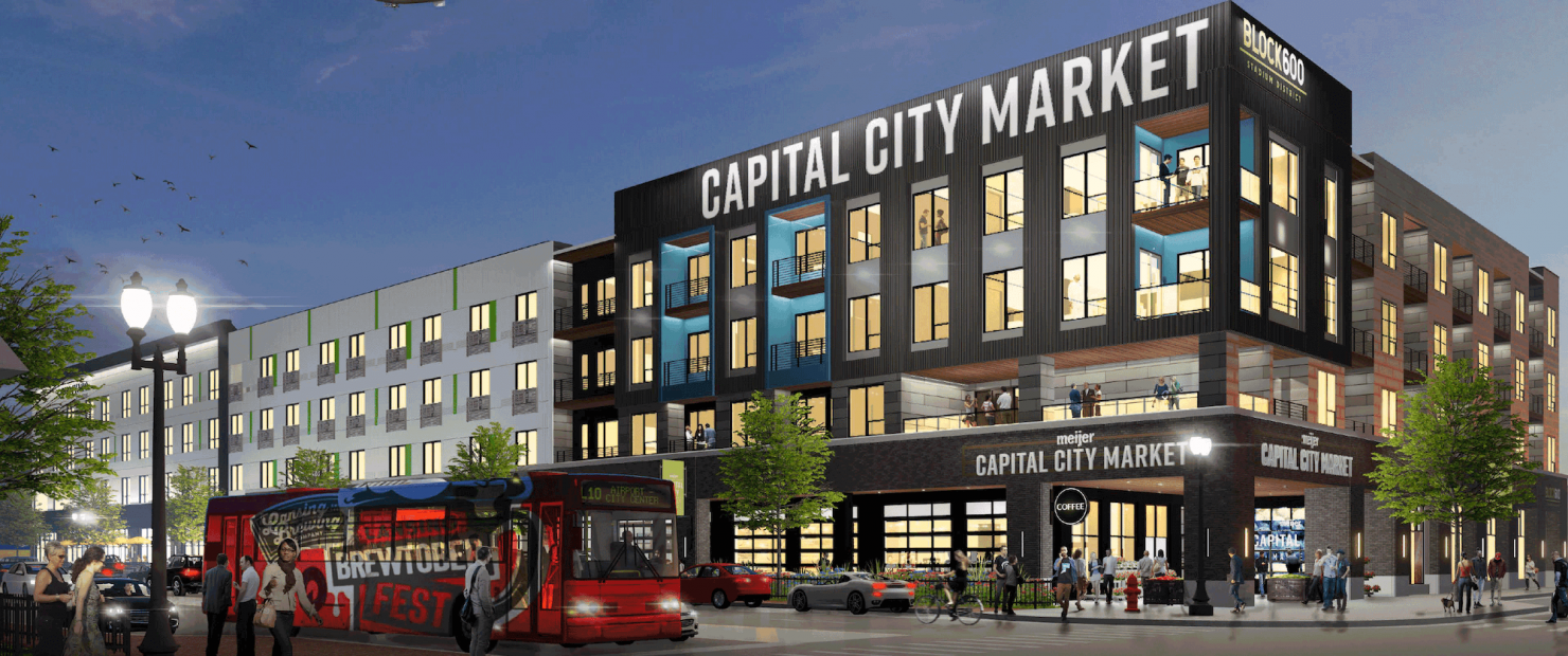 BLOCK600 Capital City Market Side Rendering from the corner of Michigan Avenue and Larch St