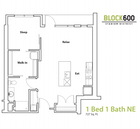 BLOCK600 1 bedroom 1 bathroom Apartment 727 square foot layout