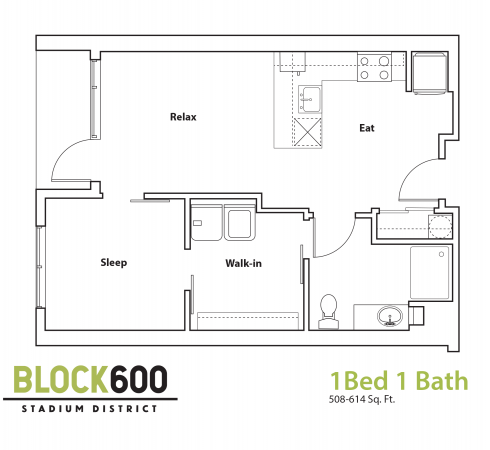 BLOCK600 1 Bedroom 1 Bath Apartment Layout ranging from 508-614 square feet