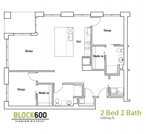 BLOCK600 2 Bedroom 2 Bathroom 1250 square foot layout