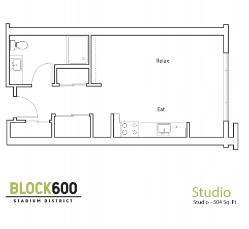 BLOCK600 Studio Apartment layout - 504 square feet