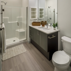 View of a bathroom in a one bedroom apartment