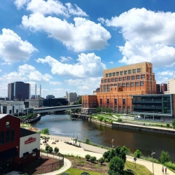 an over view of the grand river and the accident fund building
